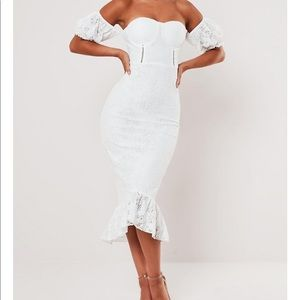 White Lace bardot fishtail midi dress
